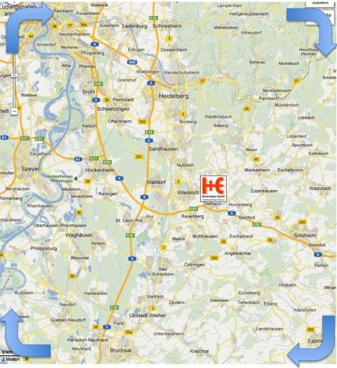 Rhein Neckar, Tätigkeitsgebiet, Karte